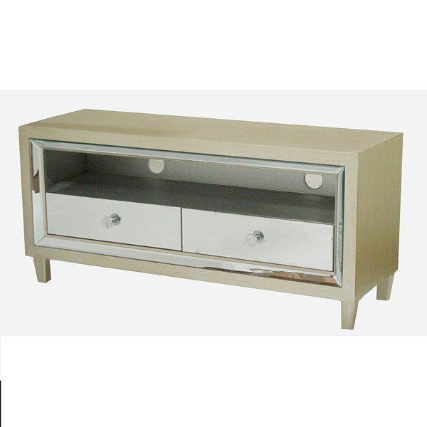HomeRoots Avery Champagne Mirror TV Stand OCN-294680