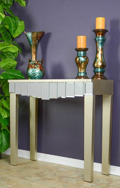 HomeRoots Art Champagne Mirrored Console Table OCN-294683