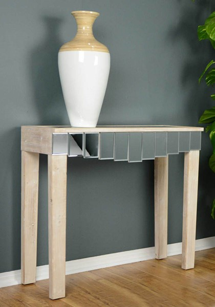 HomeRoots Art White Wash Mirrored Console Table OCN-294686