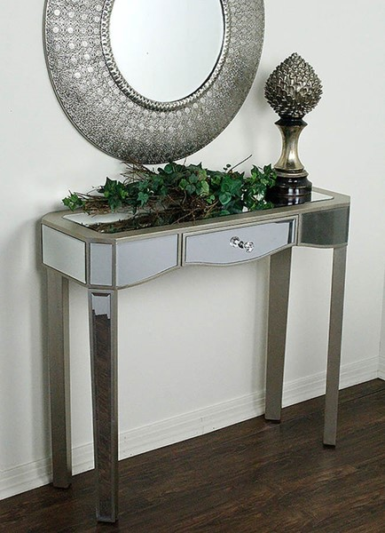 HomeRoots Elizabeth Champagne Mirrored Glass Console Table OCN-294688