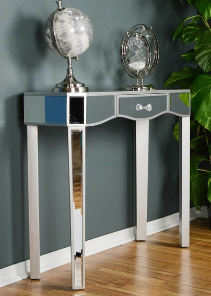 HomeRoots Elizabeth Silver Mirrored Glass Console Table OCN-294689