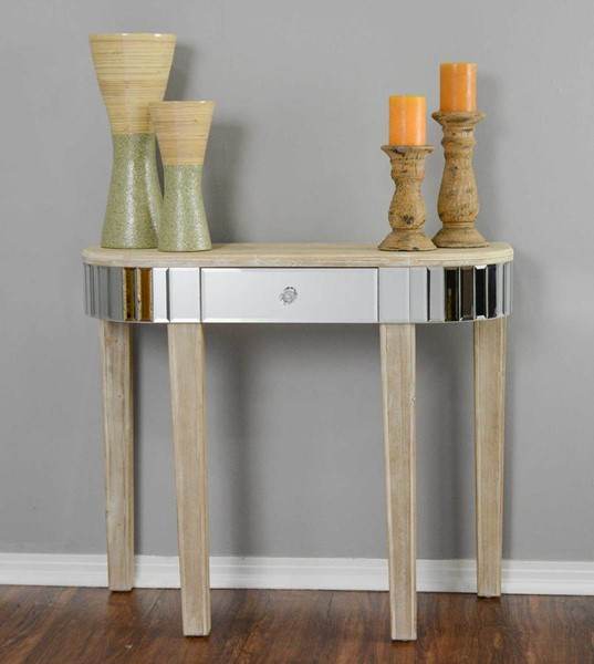 HomeRoots Elenor White Wash Wood Console Table OCN-294696