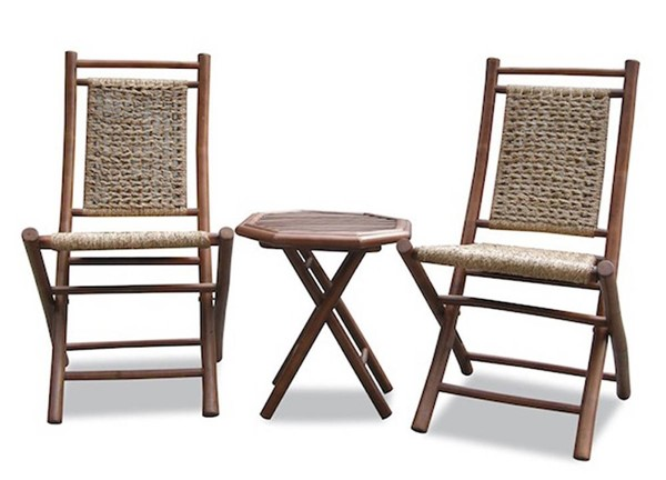 Homeroots Brown Bamboo Sea Grass Weave 2 Chairs and Table Bistro Set OCN-294713