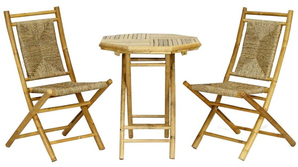 HomeRoots Lanai Bistro Natural Seagrass 3pc Outdoor Dining Set OCN-294729