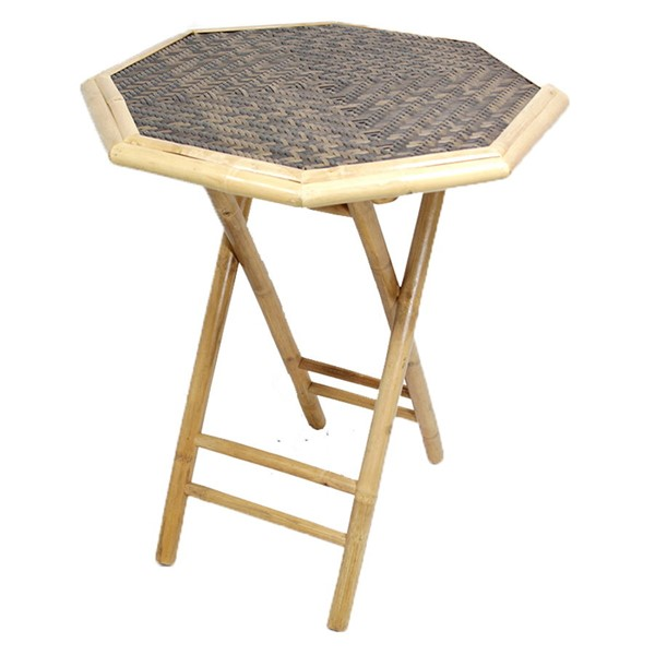 HomeRoots Oahu Natural Brown Octagonal Folding Bamboo End Table OCN-294739