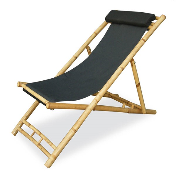 2 HomeRoots Waimea Natural Black Bamboo Folding Sling Chairs OCN-294751