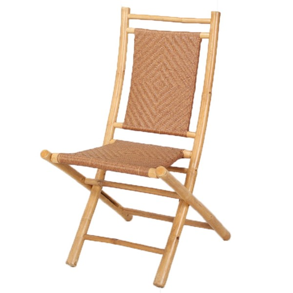 2 HomeRoots Halawa Natural Tan Folding Bamboo Chairs OCN-294756