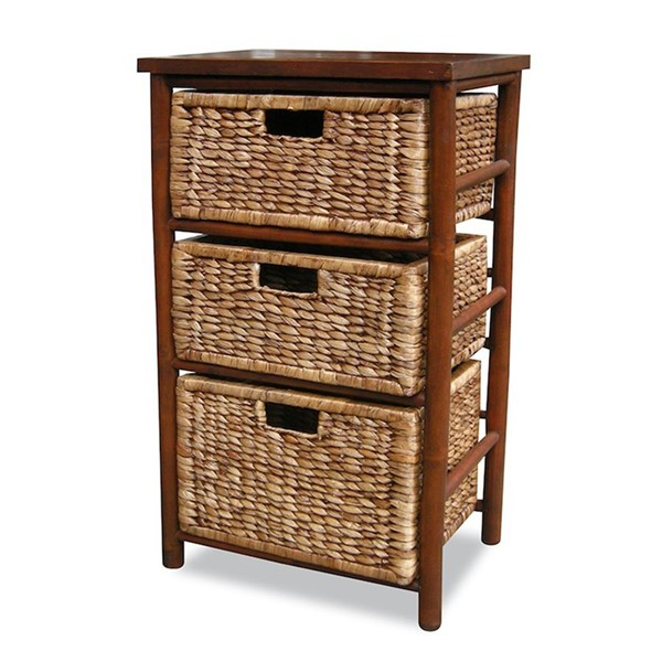 HomeRoots Kala Brown Open Sided Bamboo Storage Cabinet OCN-294762