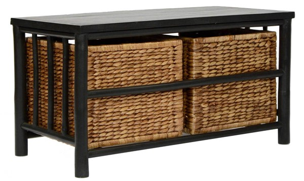 HomeRoots Kona Black Brown Bamboo Storage Bench OCN-294766
