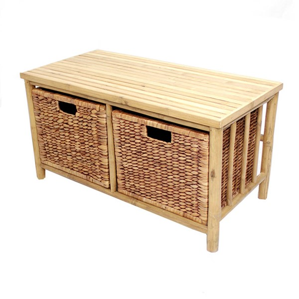HomeRoots Kona Natural Brown Bamboo Storage Bench OCN-294768