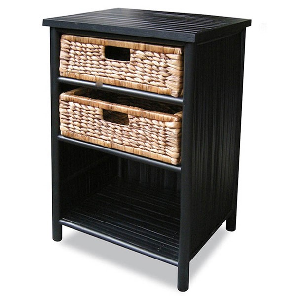 HomeRoots Naia Black Brown Bamboo End Table OCN-294771