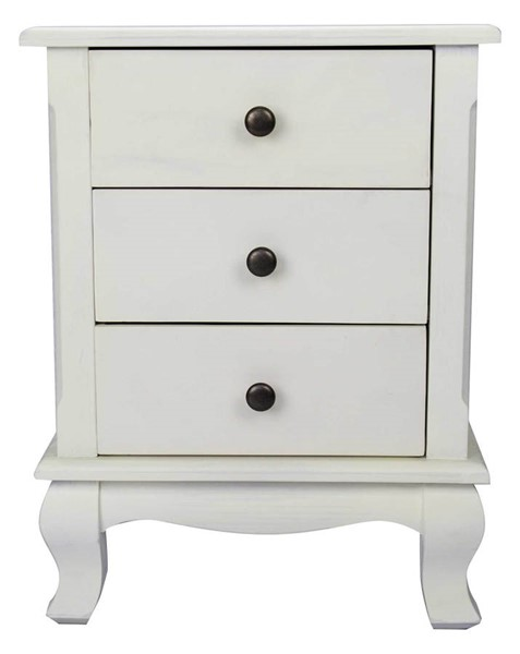 HomeRoots Pinecrest Rustic White 3 Drawers End Table OCN-294793