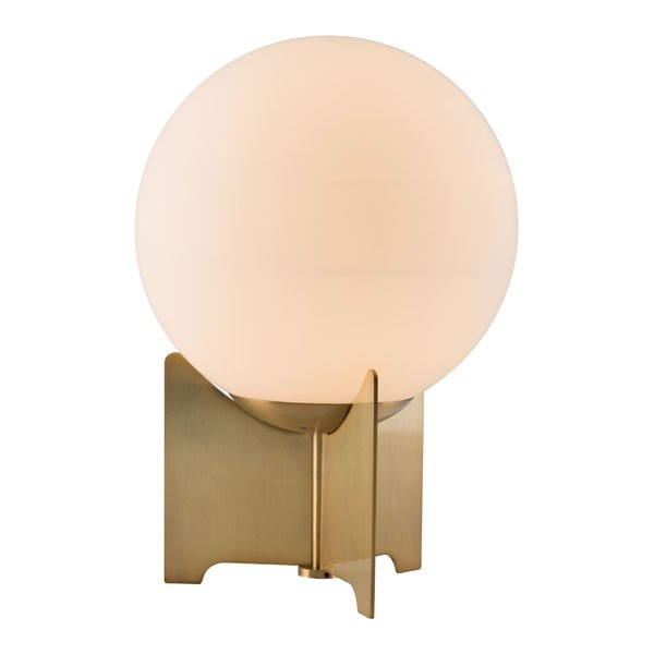 Home Roots Pearl White Brushed Bronze Frosted Glass Metal Table Lamp OCN-295011