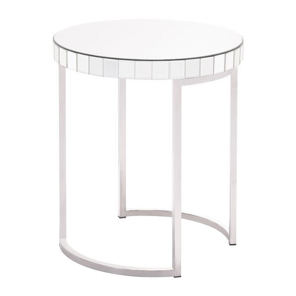 Home Roots Silver Mirror Circular End Table OCN-295453