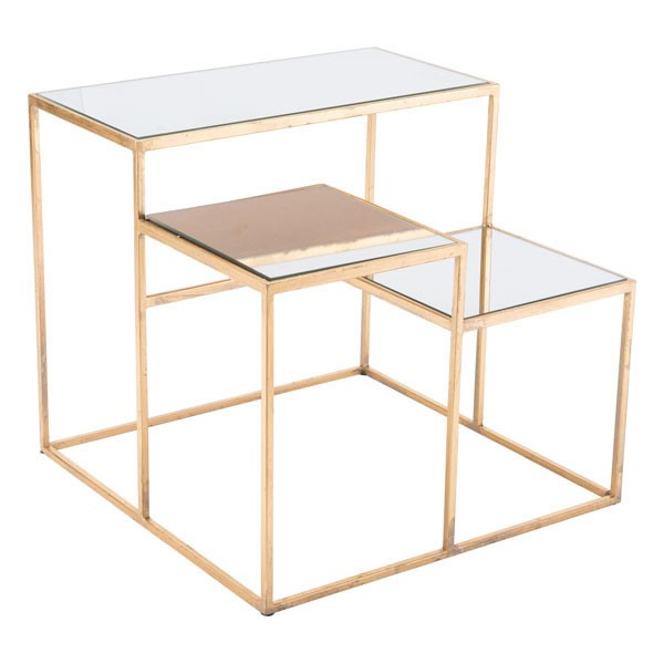 HomeRoots Gold Steel End Table OCN-295799