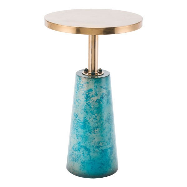 HomeRoots Distressed Blue Gold End Table OCN-296005