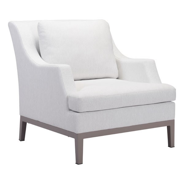 HomeRoots White Fabric Metal Arm Chair OCN-296124