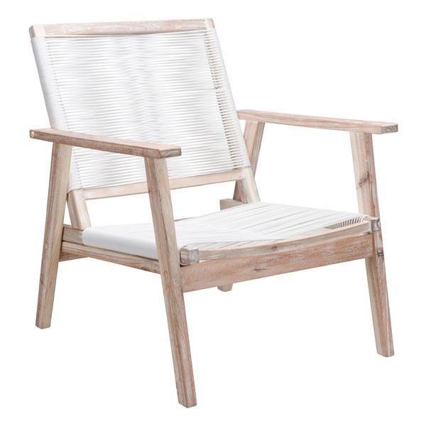 HomeRoots South Port White Wash Arm Chair OCN-296138