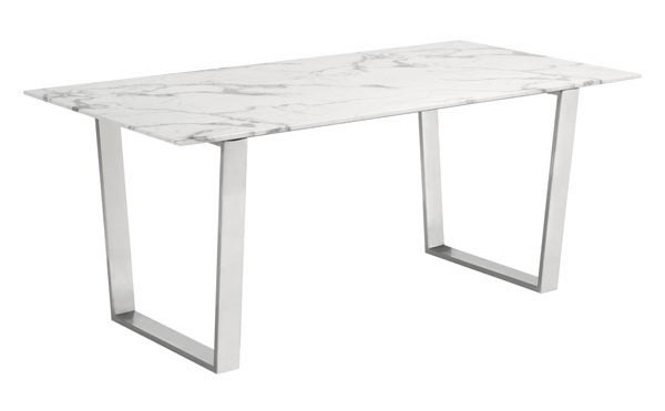 Homeroots Atlas White Faux Marble Top Silver Stainless Steel Dining Table OCN-296147