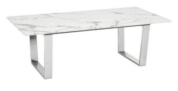 Homeroots Atlas White Faux Marble Top Silver Stainless Steel Coffee Table OCN-296148