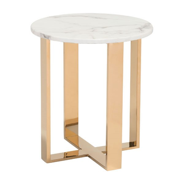 HomeRoots Atlas Gold Round End Table OCN-296151