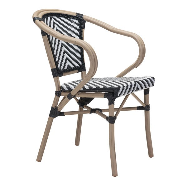 2 HomeRoots Paris Black White Dining Arm Chairs OCN-296153