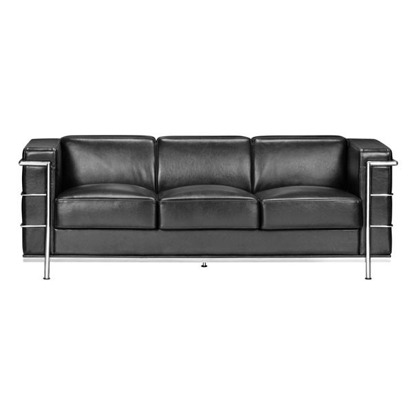 Home Roots Fortress Black Lether Metal Sofa OCN-296206