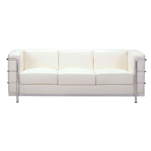 HomeRoots Fortress White Lether Metal Sofa OCN-296207