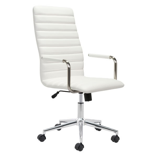 Home Roots White Faux Leather Pivot Office Chair OCN-296268