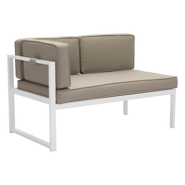HomeRoots Golden Beach White Taupe LHF Chaise OCN-296359