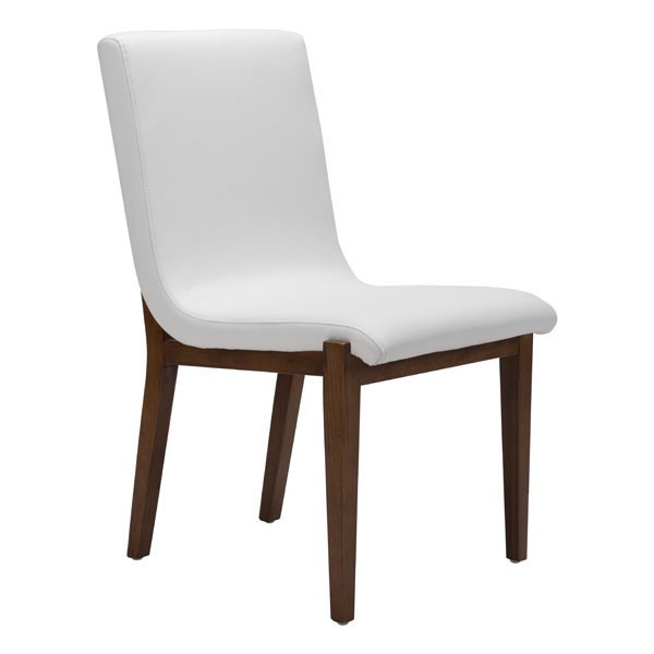 HomeRoots White Faux Leather Wood Dining Chair OCN-296363