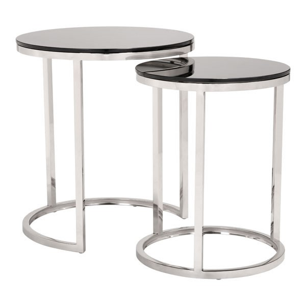 HomeRoots Petite Rem Black 2pc Coffee Table Set OCN-296365