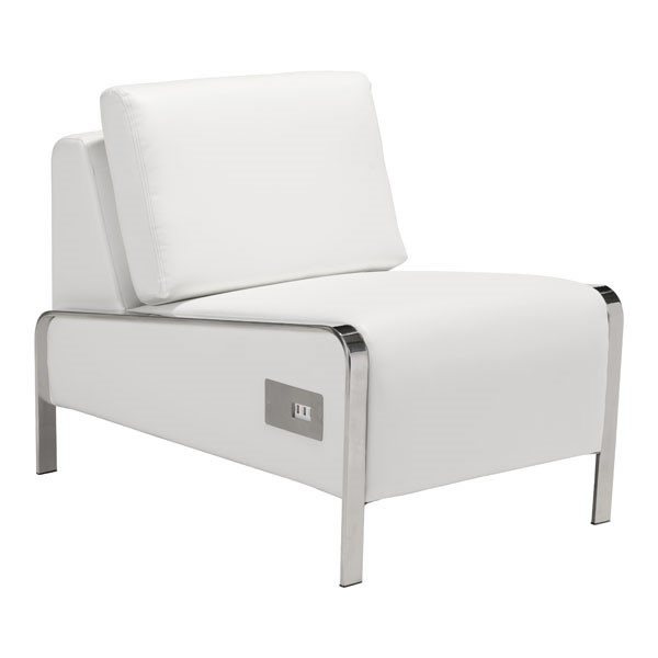 HomeRoots Thor White Faux Leather Armless Chair OCN-296384