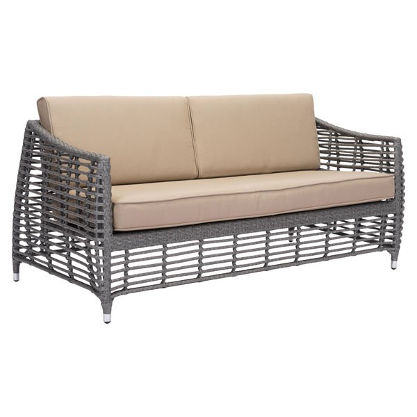 HomeRoots Gray Synthetic Weave Beach Sofa OCN-296400