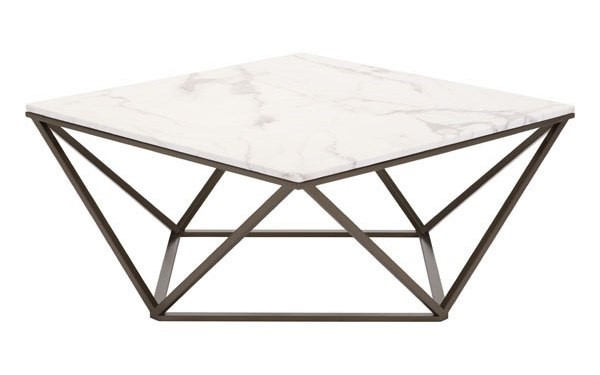 Homeroots White Faux Marble Coffee Table OCN-296471
