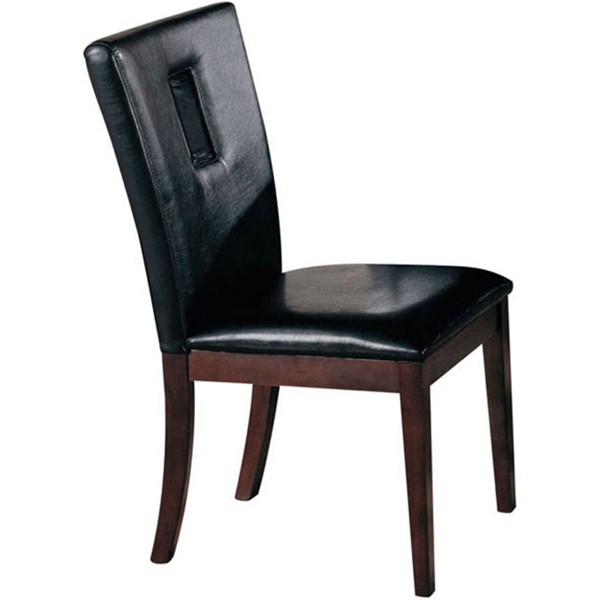 Homeroots Black PU Brown Solid Wood Side Chairs OCN-297249-DR-CH-VAR