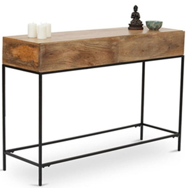 Homeroots Modish Brown Mango Wood Console Table OCN-297519