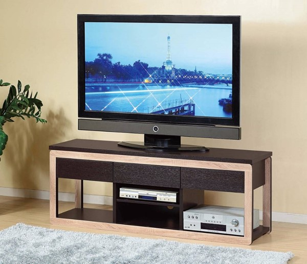 Homeroots Brown Wood Spacious Open Drawers TV Stand OCN-299755