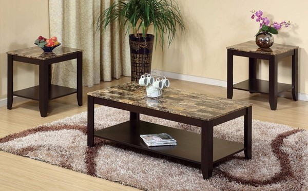 Homeroots Brown Marble Wood 3pc Coffee Table Set OCN-299787
