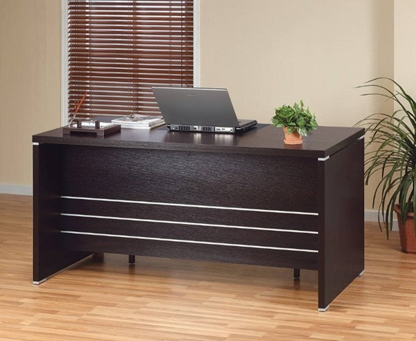 Homeroots Dark Brown Wood 2 Locking File Drawers Desk OCN-299848