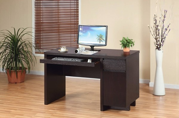 Homeroots Dark Brown Wood One Storage Cabinet Computer Desk OCN-299851