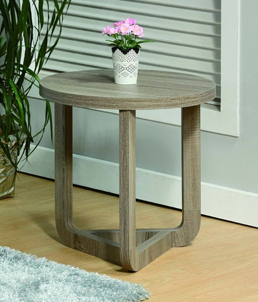 Homeroots Gray Wood Round End Table OCN-299863