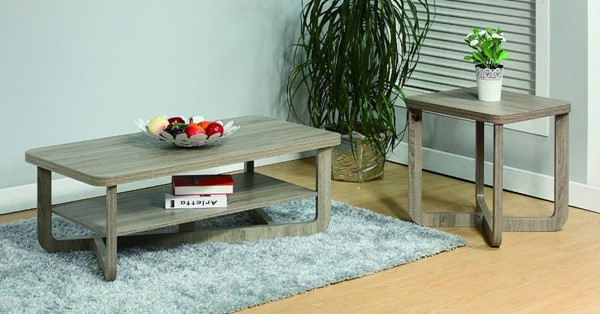 Homeroots Gray Wood Rounded Corners 2pc Coffee and End Table Set OCN-299864