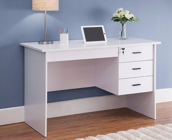 Homeroots White Wood Three Locking Drawers Office Desk OCN-299870