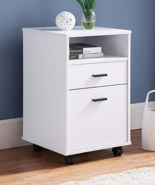 Homeroots White Wood Storage File Cabinet with Wheels OCN-299872