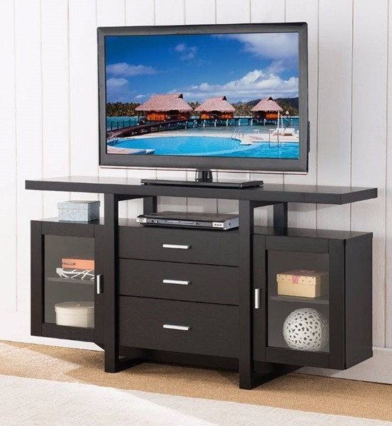 Homeroots Black Wood  Metal Splendid TV Stand Cum Buffet OCN-299880
