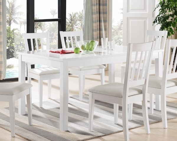 Homeroots White Wood Smooth Top Dining Table OCN-299892