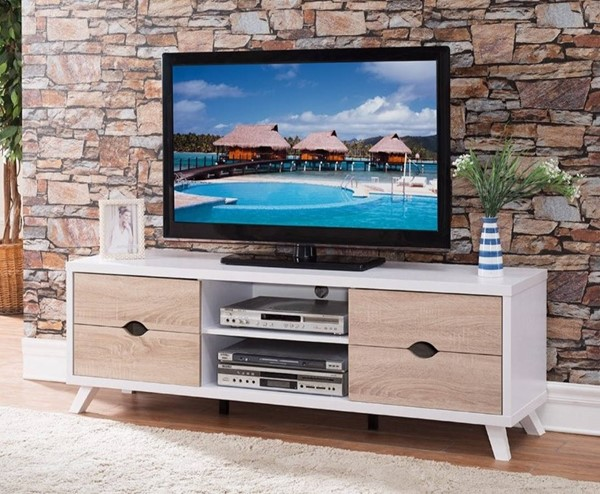 Homeroots White Brown Wood Cutout Drawer Storage TV Stand OCN-299899