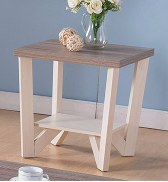 Homeroots White Brown Wood Display Shelf End Table OCN-299903