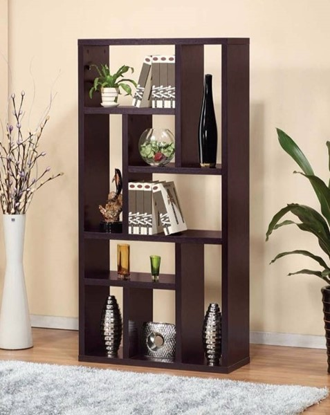 Homeroots Dark Brown Hardwood 9 Open Shelves Display Cabinet OCN-299912